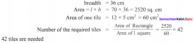 Samacheer Kalvi 6th Maths Solutions Term 3 Chapter 3 Perimeter and Area Additional Questions 2
