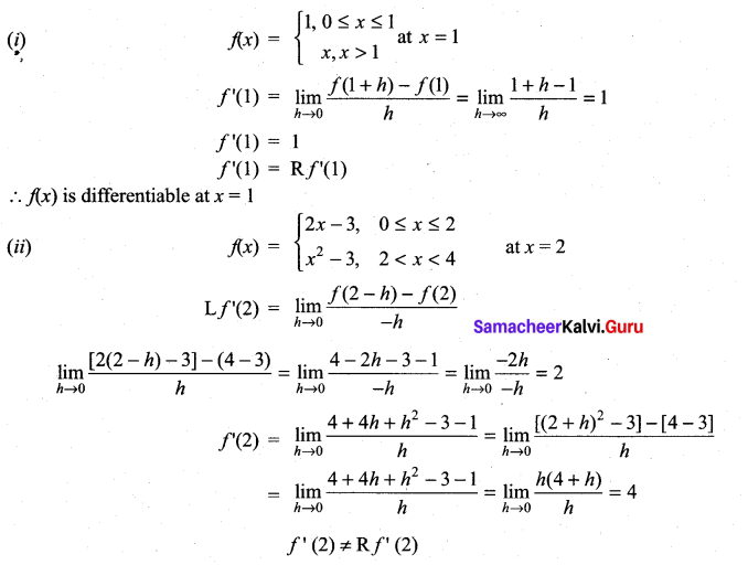 Samacheer Kalvi 11th Maths Solutions Chapter 10 Differentiability and Methods of Differentiation Ex 10.1 27