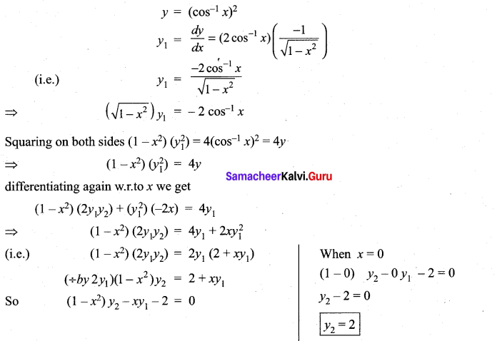 Samacheer Kalvi 11th Maths Solutions Chapter 10 Differentiability and Methods of Differentiation Ex 10.4 38