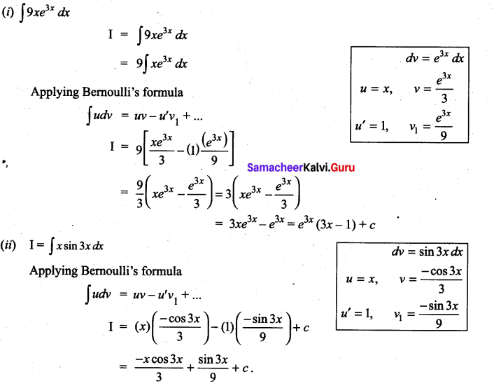 Samacheer Kalvi 11th Maths Solutions Chapter 11 Integral Calculus Ex 11.7 1