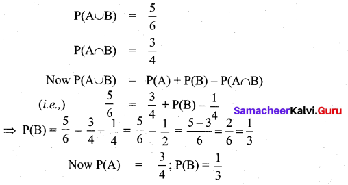 Samacheer Kalvi 11th Maths Solutions Chapter 12 Introduction to Probability Theory Ex 12.5 5