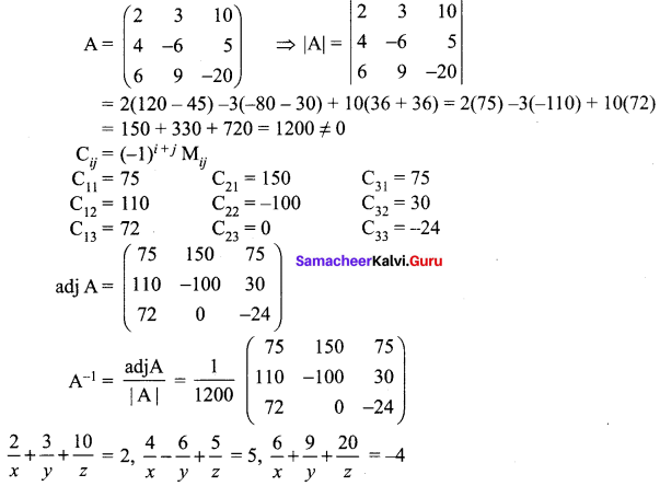Samacheer Kalvi 12th Maths Solutions Chapter 1 Applications of Matrices and Determinants Ex 1.3 18