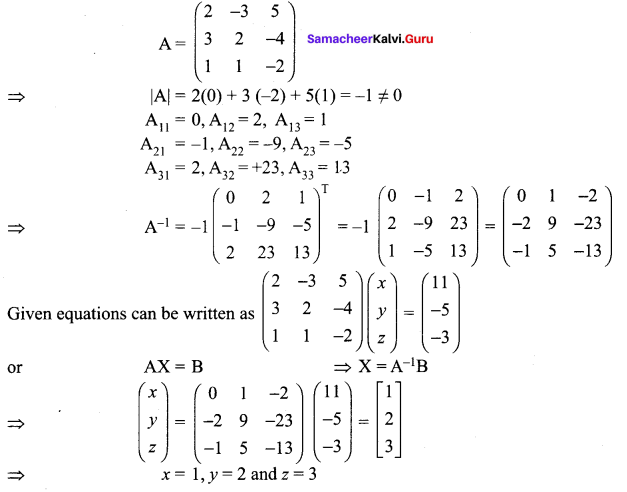 Samacheer Kalvi 12th Maths Solutions Chapter 1 Applications of Matrices and Determinants Ex 1.3 66