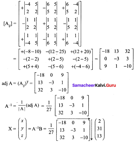 Samacheer Kalvi 12th Maths Solutions Chapter 1 Applications of Matrices and Determinants Ex 1.3 Q1.5