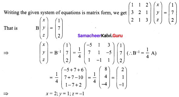 Samacheer Kalvi 12th Maths Solutions Chapter 1 Applications of Matrices and Determinants Ex 1.3 Q2.1