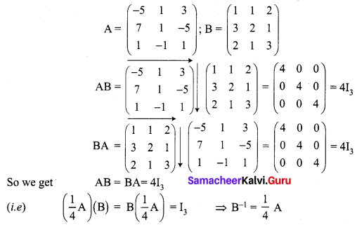 Samacheer Kalvi 12th Maths Solutions Chapter 1 Applications of Matrices and Determinants Ex 1.3 Q2