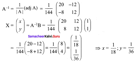 Samacheer Kalvi 12th Maths Solutions Chapter 1 Applications of Matrices and Determinants Ex 1.3 Q4.1