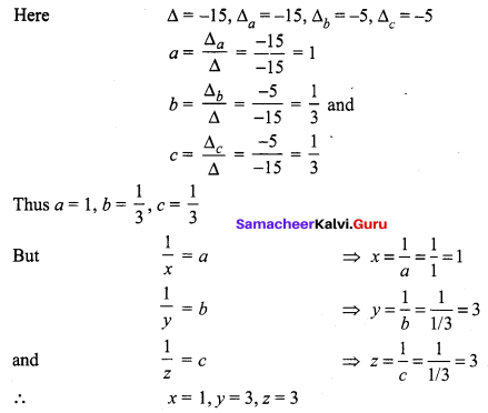 Samacheer Kalvi 12th Maths Solutions Chapter 1 Applications of Matrices and Determinants Ex 1.4 Q1.7