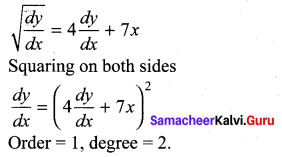 Samacheer Kalvi 12th Maths Solutions Chapter 10 Ordinary Differential Equations Ex 10.1 7