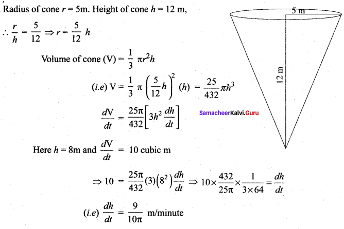 Samacheer Kalvi 12th Maths Solutions Chapter 7 Applications of Differential Calculus Ex 7.1 11