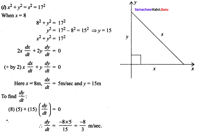 Samacheer Kalvi 12th Maths Solutions Chapter 7 Applications of Differential Calculus Ex 7.1 12