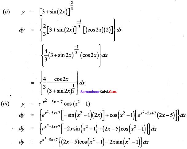 Samacheer Kalvi 12th Maths Solutions Chapter 8 Differentials and Partial Derivatives Ex 8.2 4