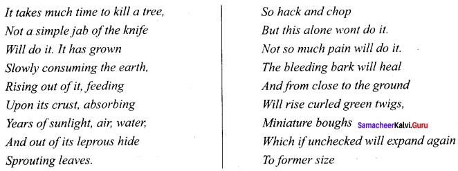 Samacheer Kalvi 9th English Solutions Poem Chapter 3 On Killing a Tree 1