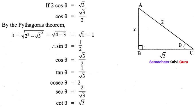 9th Maths Trigonometry Samacheer Kalvi