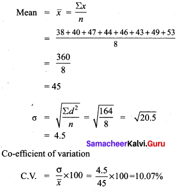 10th Class Exercise 8.2 Samacheer Kalvi Statistics and Probability