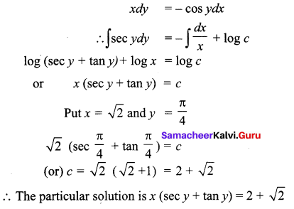 Samacheer Kalvi 12th Business Maths Solutions Chapter 4 Differential Equations Additional Problems III Q1