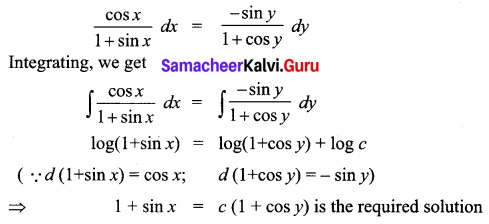 Samacheer Kalvi 12th Business Maths Solutions Chapter 4 Differential Equations Ex 4.2 Q4