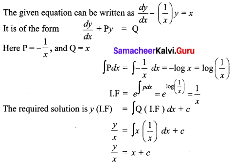 Samacheer Kalvi 12th Business Maths Solutions Chapter 4 Differential Equations Ex 4.4 Q1