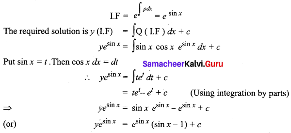 Samacheer Kalvi 12th Business Maths Solutions Chapter 4 Differential Equations Ex 4.4 Q2
