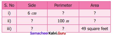 Samacheer Kalvi 6th Maths Solutions Term 3 Chapter 3 Perimeter and Area Ex 3.1 3
