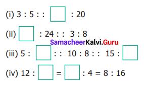 Samacheer Kalvi 6th Maths Term 1 Chapter 3 Ratio and Proportion Ex 3.3 Q1