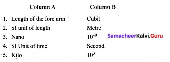 Samacheer Kalvi 6th Science Solutions Term 1 Chapter 1 Measurements 2