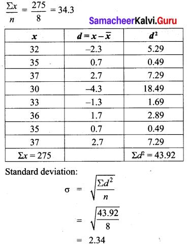 Samacheer Kalvi Ex 8.1 Class 10th Maths Chapter 8 Statistics and Probability