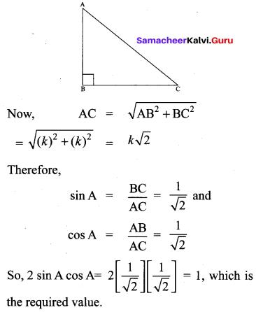 Samacheer Kalvi 10th Maths Solutions Chapter 6 Trigonometry Additional Questions 50