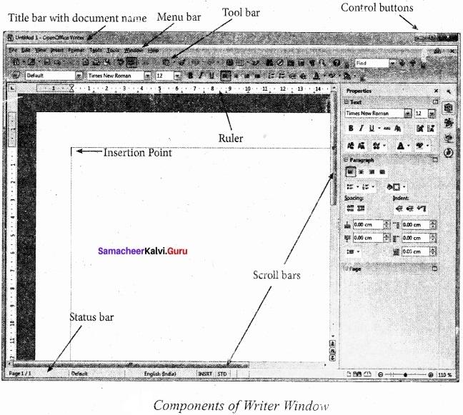 Samacheer Kalvi 11th Computer Applications Solutions Chapter 6 Word Processor Basics (OpenOffice Writer) img 4