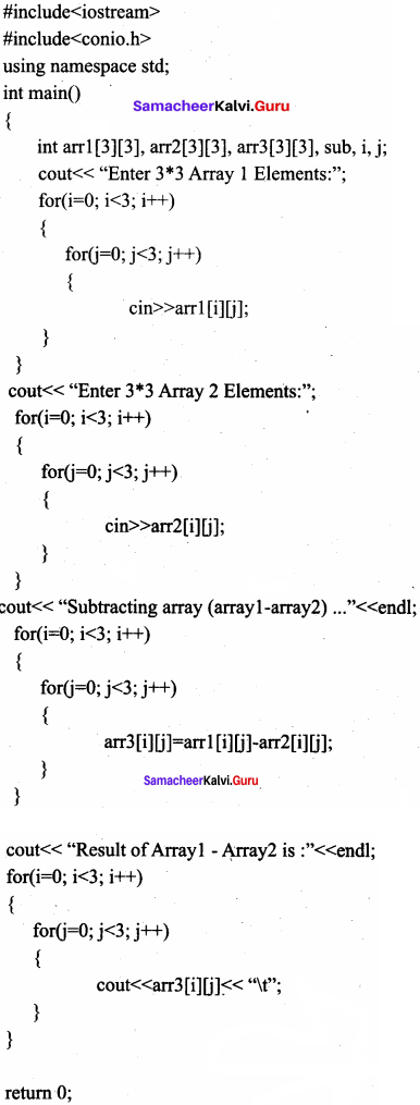 Samacheer Kalvi 11th Computer Science Solutions Chapter 12 Arrays and Structures 1