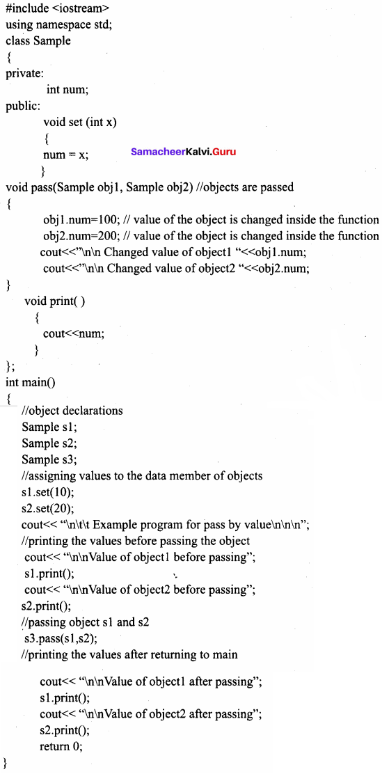 Samacheer Kalvi 11th Computer Science Solutions Chapter 14 Classes and Objects 14