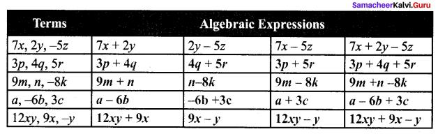 Samacheer Kalvi 7th Maths Solutions Term 1 Chapter 3 Algebra Additional Questions 3
