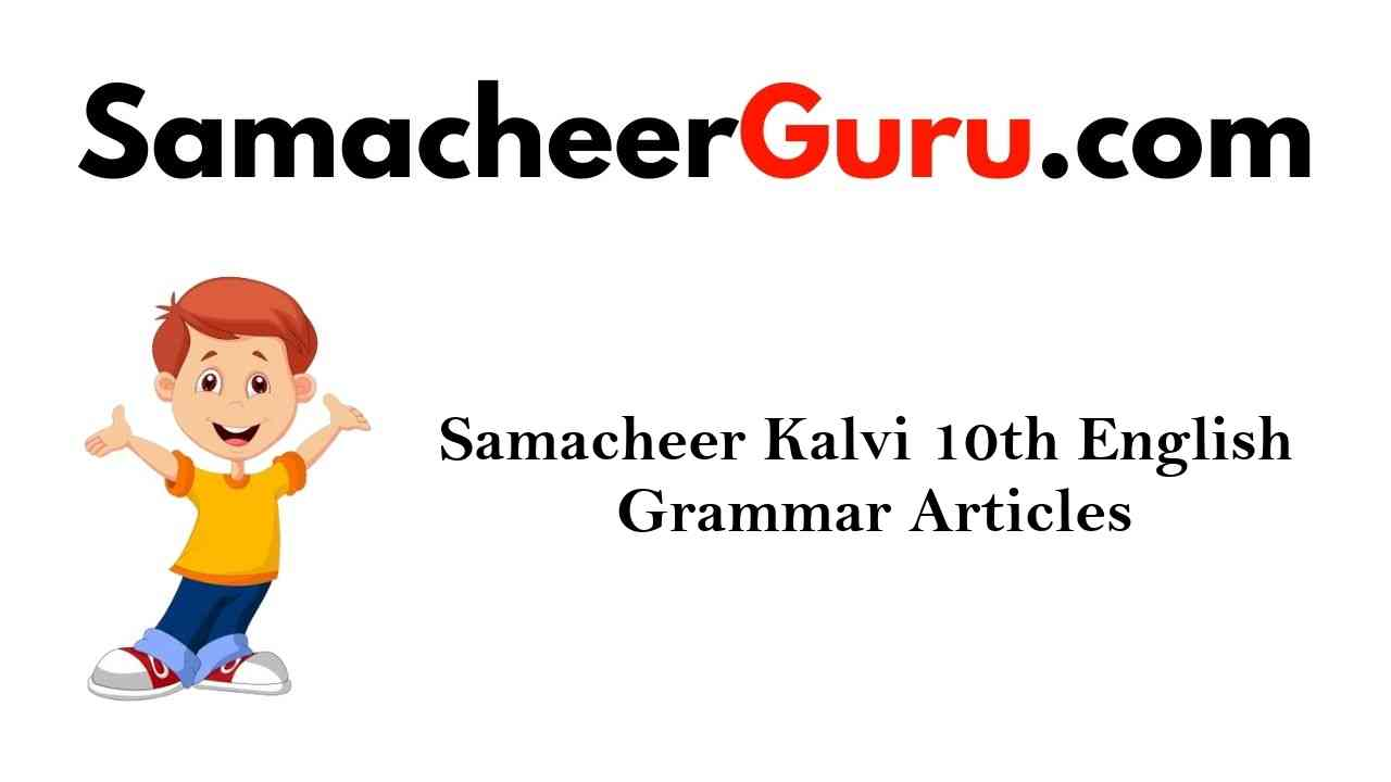 Samacheer Kalvi 10th English Grammar Articles