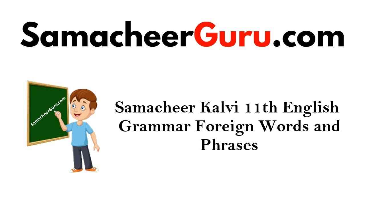 Samacheer Kalvi 11th English Grammar Foreign Words and Phrases
